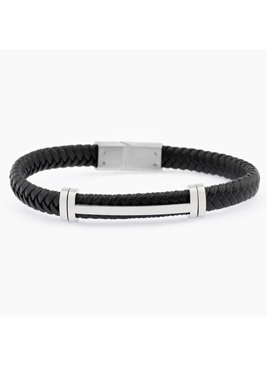 Welch Steel Siyah Beyaz Erkek Çelik Deri Bileklik Siyah